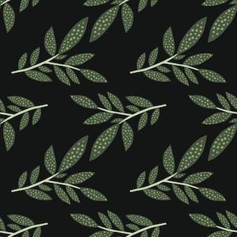 Modello senza cuciture con la siluetta delle foglie su fondo nero. carta da parati rami di un albero. sfondo di natura. ramoscelli decorativi.