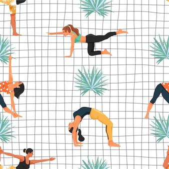 Modello senza cuciture con le donne in varie pose di yoga e foglia di palma