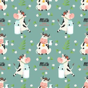 Modello senza cuciture con le mucche dell'azienda agricola e la bottiglia per il latte