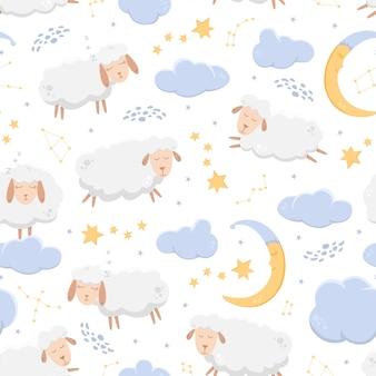 Modello senza cuciture con le pecore addormentate che volano attraverso il cielo stellato tra nuvole e costellazioni.