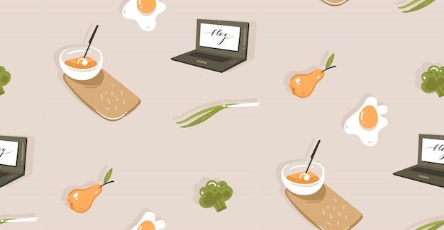 Modello senza cuciture con le verdure, alimento disegnato a mano di divertimento dell'illustrazione di tempo di cottura