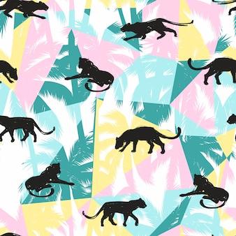 Modello senza cuciture con leopardi astratti