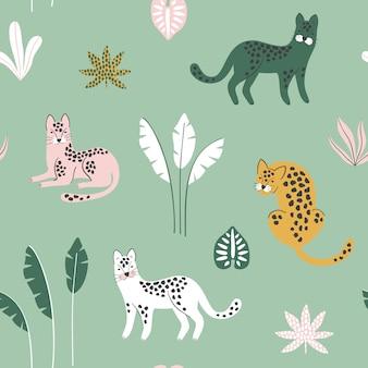 Modello senza cuciture con leopardi e foglie tropicali.