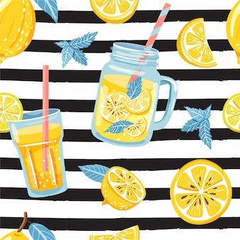 Modello senza cuciture con limone, fetta di limone, menta, fiore, vaso con limonata.