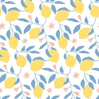 Modello senza cuciture con limoni freschi, foglie e fiori.