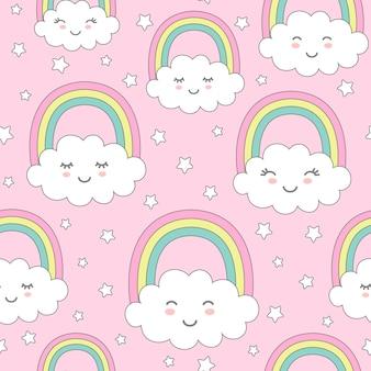 Modello senza cuciture con nuvole carine, arcobaleno e stelle.