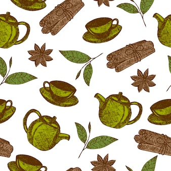 Modello senza cuciture con oggetti di cultura del tè disegnati a mano con teiera, tazza, cannella, foglia di tè