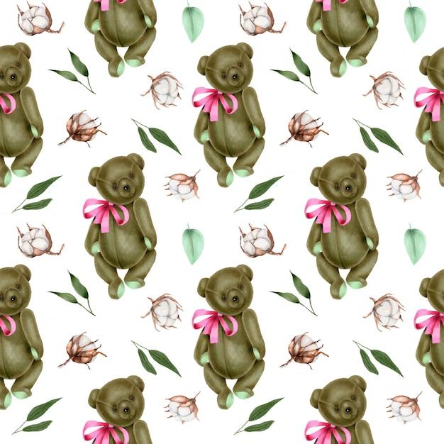 Modello senza cuciture con orsetti di peluche morbidi dipinti a mano e fiori di cotone