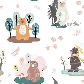 Modello senza cuciture con orsi carini e diversi elementi. illustrazione in stile scandinavo.