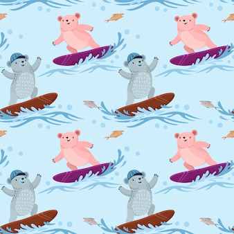 Modello senza cuciture con orso carino surf sulle onde.