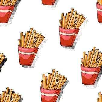 Modello senza cuciture con patatine fritte su bianco