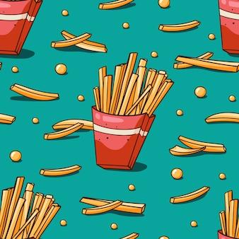 Modello senza cuciture con patatine fritte