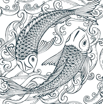 Modello senza cuciture con pesce koi disegnato a mano (carpa giapponese)
