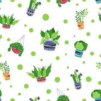 Modello senza cuciture con piante in vaso casa dei cartoni animati