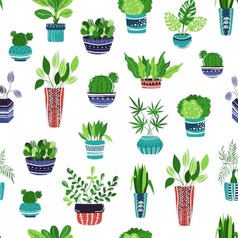 Modello senza cuciture con piante o fiori di casa del fumetto