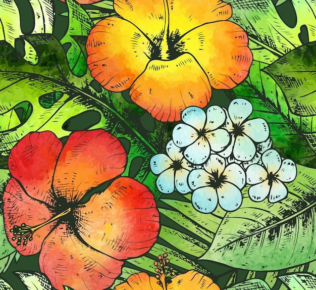 Modello senza cuciture con piante tropicali disegnate a mano variopinte e florida