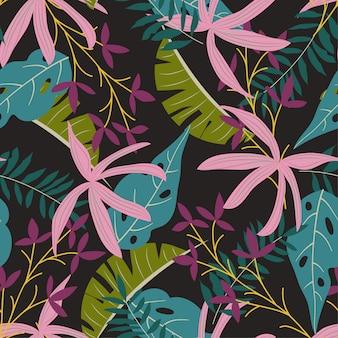 Modello senza cuciture con piante tropicali variopinte