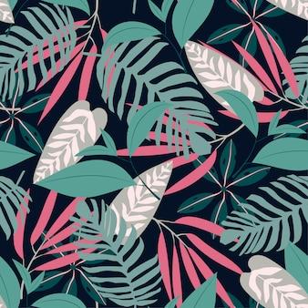 Modello senza cuciture con piante tropicali