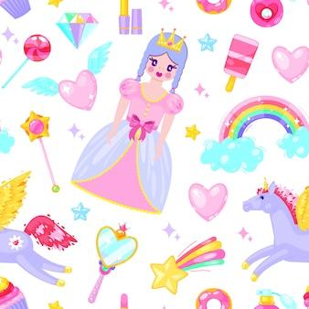 Modello senza cuciture con principessa carina, unicorno, nuvole, cuori e altri elementi del fumetto.