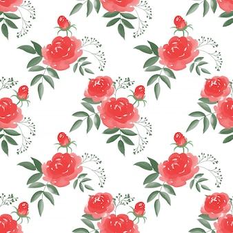 Modello senza cuciture con rami di fiori rosa con foglie su sfondo bianco.