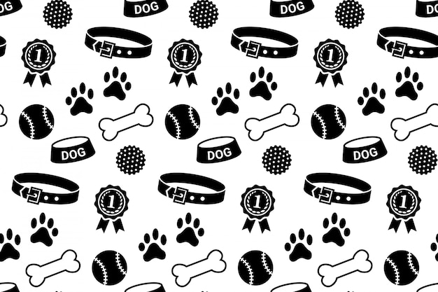 Modello senza cuciture con roba di cane. collare, ciotola, palline, ossa, impronte di zampe e ricompensa
