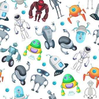 Modello senza cuciture con simpatici robot divertenti. immagini vettoriali in stile cartoon. illustrazione senza cuciture del modello del fumetto del robot