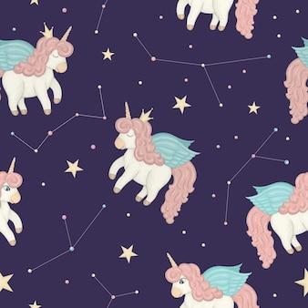 Modello senza cuciture con simpatici unicorni sul cielo notturno con stelle e costellazioni.