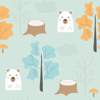 Modello senza cuciture con simpatico orso e alberi in stile scandinavo