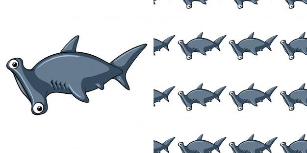 Modello senza cuciture con squalo testa di martello