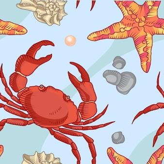 Modello senza cuciture con stella marina e granchio. sfondo marittimo
