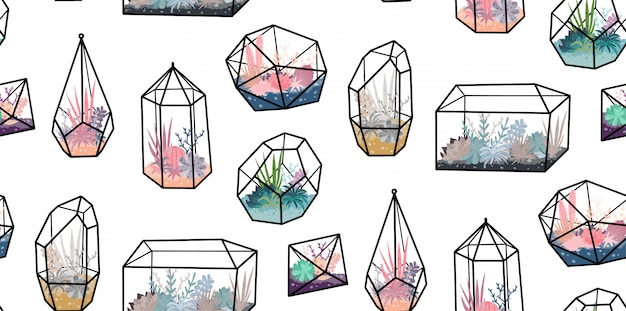 Modello senza cuciture con terrari geometrici con piante, succulente, cactus. arredamento per la casa in stile scandinavo. florarium in cristallo di vetro