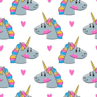 Modello senza cuciture con teste di unicorno arcobaleno. Moda animali kawaii.
