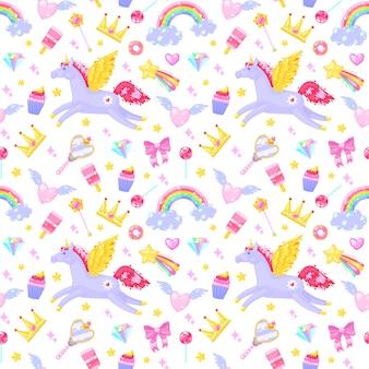Modello senza cuciture con unicorni, cuori, vestiti, caramelle, nuvole, arcobaleni e altri elementi su sfondo bianco.