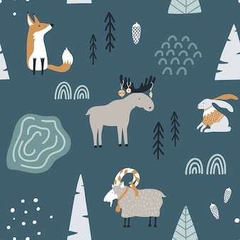 Modello senza cuciture con volpe, capra, alce e coniglio nella foresta.