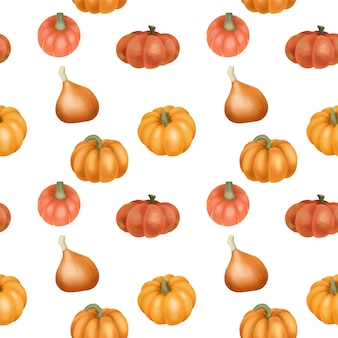 Modello senza cuciture con zucche arancioni dell'acquerello