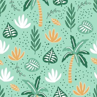 Modello senza cuciture creativo astratto con piante tropicali.