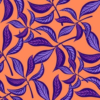 Modello senza cuciture d'annata disegnato a mano floreale con le foglie.