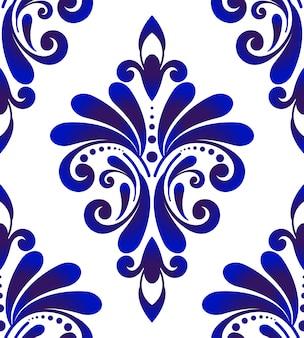 Modello senza cuciture damascato blu e bianco