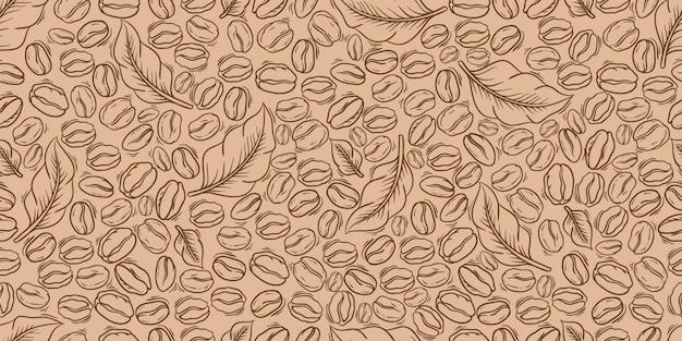 Modello senza cuciture decorativo delle foglie e dei chicchi di caffè. adatto per carta da imballaggio.