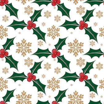 Modello senza cuciture decorato delle foglie e delle bacche dell'agrifoglio di Natale.