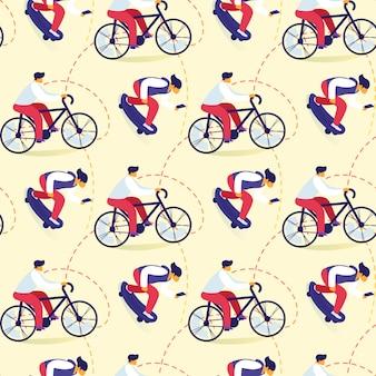 Modello senza cuciture degli adolescenti che guidano in bicicletta, stile di vita attivo pattinante