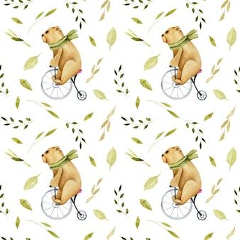 Modello senza cuciture degli orsi carini dell'acquerello su una bicicletta