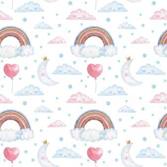 Modello senza cuciture dei bambini dell'acquerello con arcobaleni, nuvole e lune svegli
