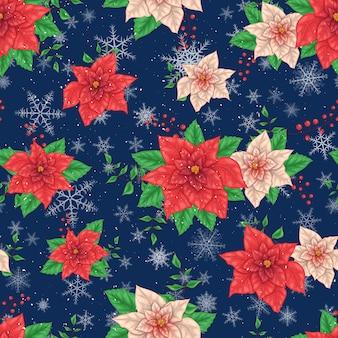 Modello senza cuciture dei fiori della stella di natale di inverno di natale