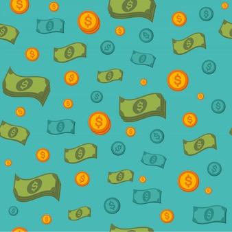 Modello senza cuciture dei soldi con monete e banconote