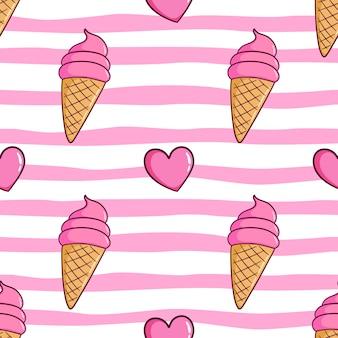Modello senza cuciture del cono gelato con stile doodle colorato