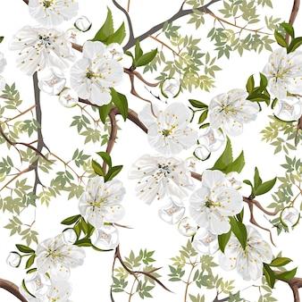 Modello senza cuciture del fiore bianco dei fiori della pesca
