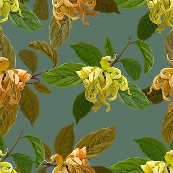 Modello senza cuciture del fiore di cananga sulla porpora