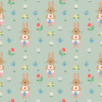 Modello senza cuciture del fiore sveglio di varietà e del coniglio