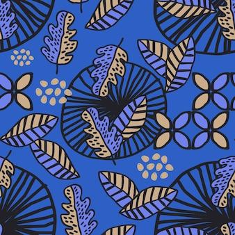 Modello senza cuciture del fondo del disegno del batik delle foglie di autunno